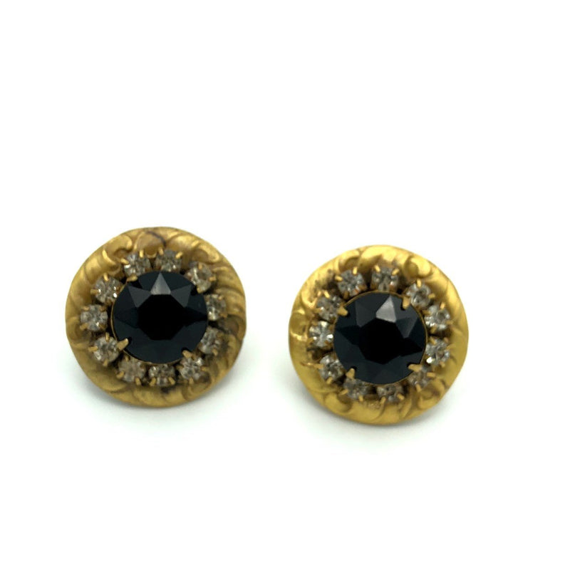Sadie Green Antiqued Repousse Black Rhinestone Earrings-Earrings-24 Wishes