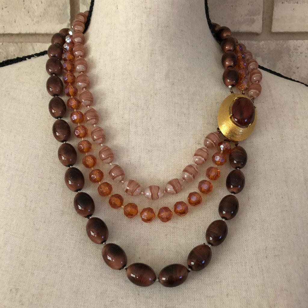 Vintage Brown Seleni Layered Bead Necklace
