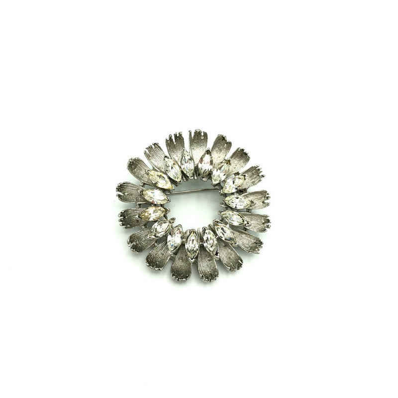 BSK Silver Wreath Rhinestone Vintage Brooch-Sustainable Fashion with Vintage Style-Trending Designer Fashion-24 Wishes