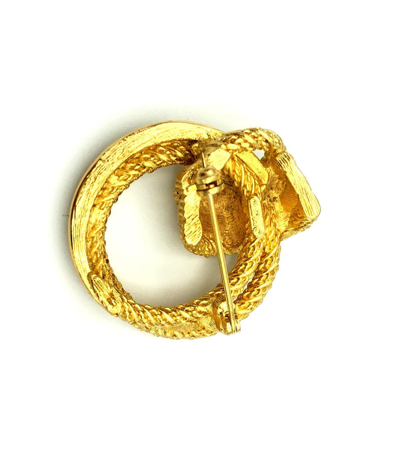 update alt-text with template Vintage Gold Christian Dior Circle Braided Brooch-Brooches & Pins-Christian Dior-[trending designer jewelry]-[christian dior jewelry]-[Sustainable Fashion]