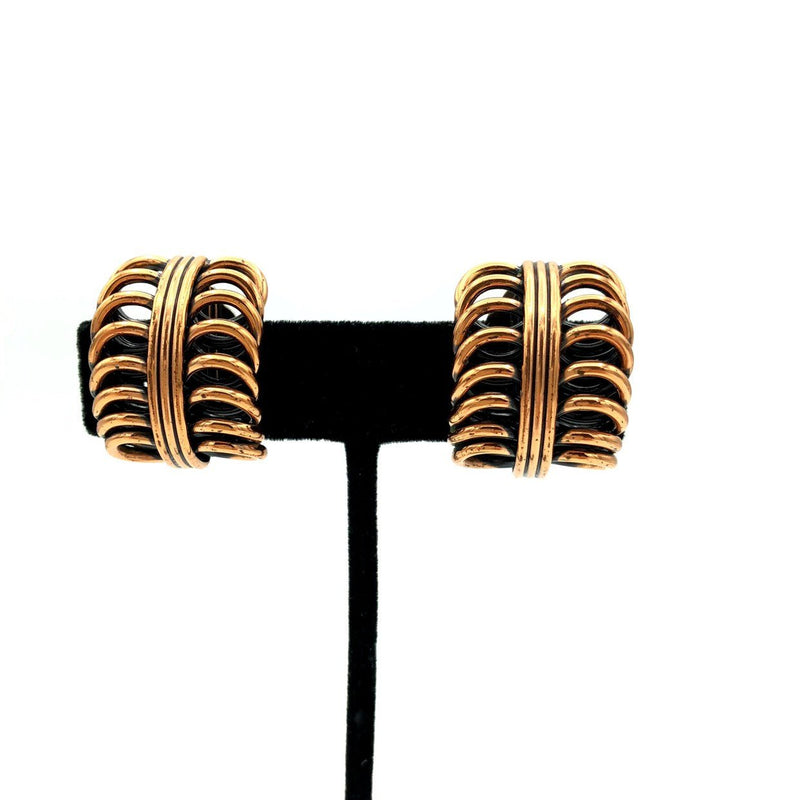 Vintage Matisse Renoir Wide Hoop Copper Earrings