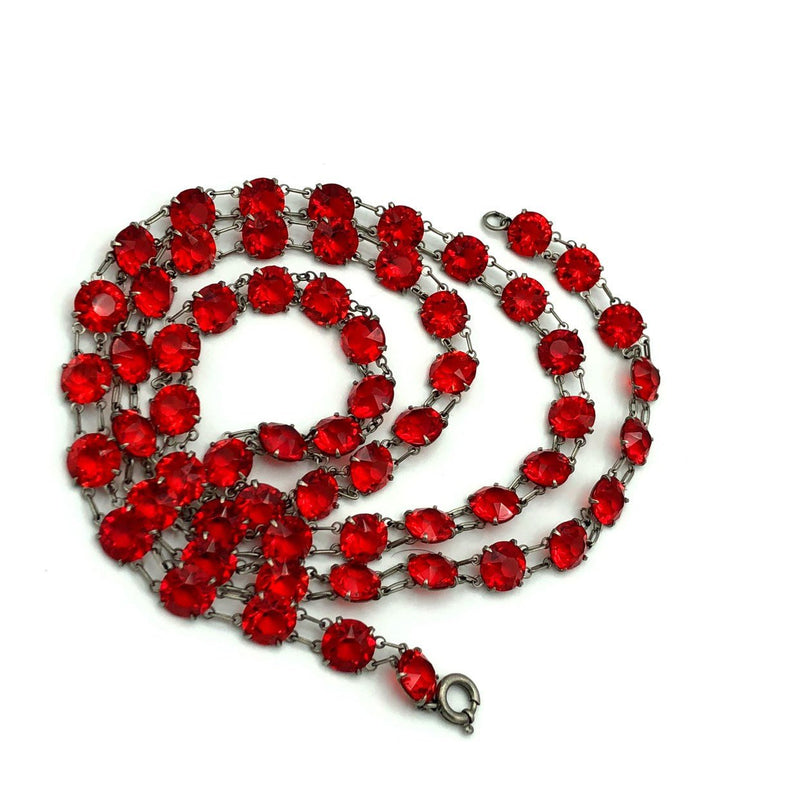 Vintage Art Deco Red Crystals Long Necklace