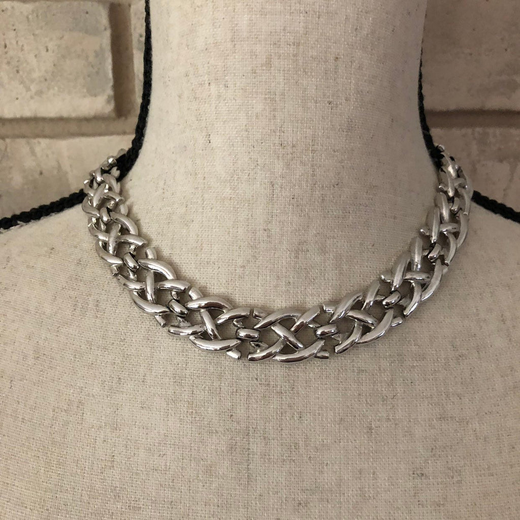 Vintage Silver Crown Trifari Weave Necklace-Sustainable Fashion with Vintage Style-Trending Designer Fashion-24 Wishes