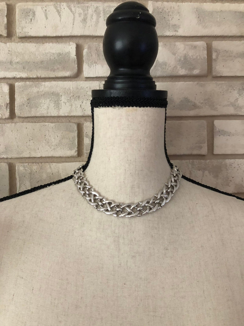 Vintage Silver Crown Trafari Weave Necklace