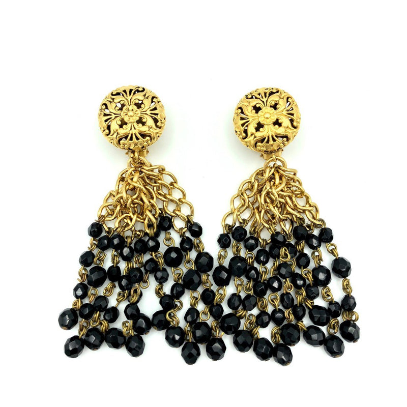 Vintage Gold Franck Herval Black Tassel Earrings-Sustainable Fashion with Vintage Style-Trending Designer Fashion-24 Wishes