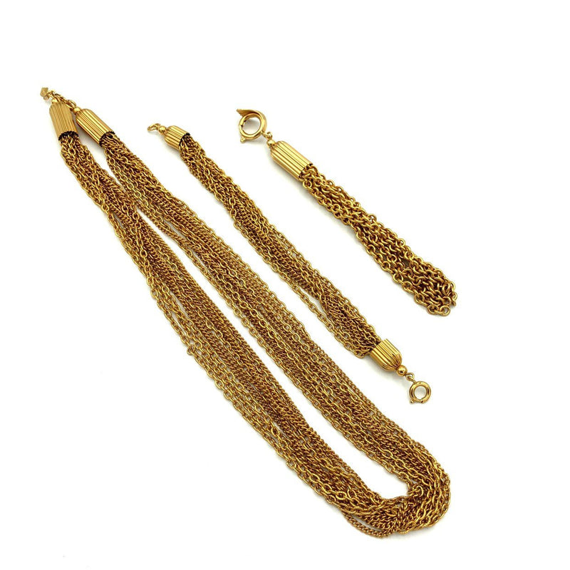 Vintage Sarah Coventry Gold Chain Tassel Jewelry Set