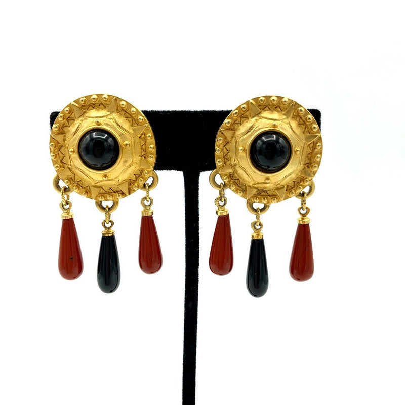 Gold Patti Horn Etruscan Revival Dangle Earrings-Earrings-24 Wishes
