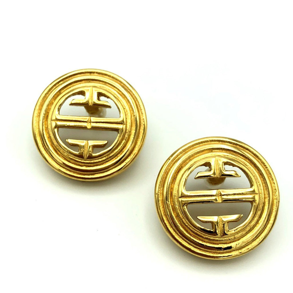 Gold Round Givenchy Vintage Logo Earrings