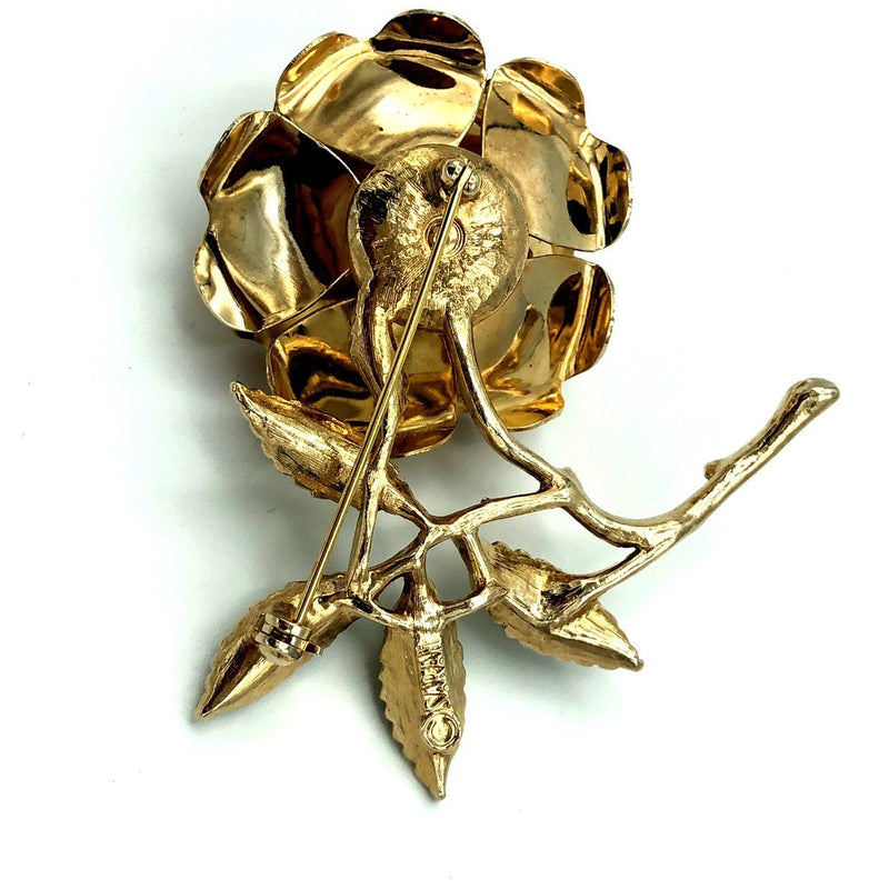 Large Sarah Coventry Gold Flower Vintage Brooch