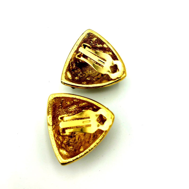 Vintage Over-sized Gold Triangle Rhinestone Paved Earrings