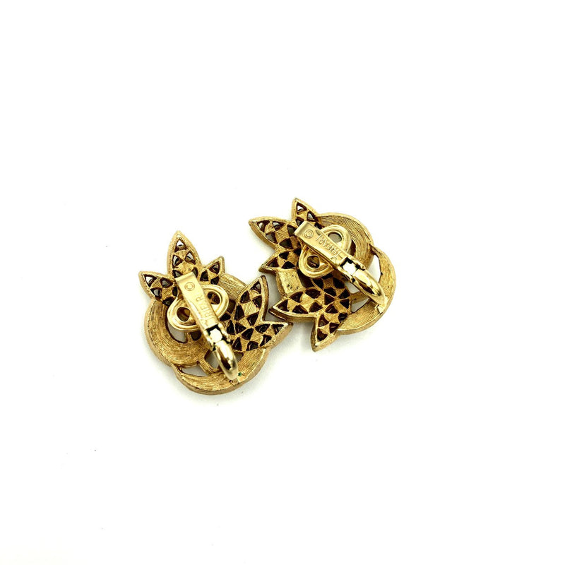 update alt-text with template Gold Crown Trifari Swirl Leaf Vintage Earrings-Earrings-Trifari-[trending designer jewelry]-[trifari jewelry]-[Sustainable Fashion]