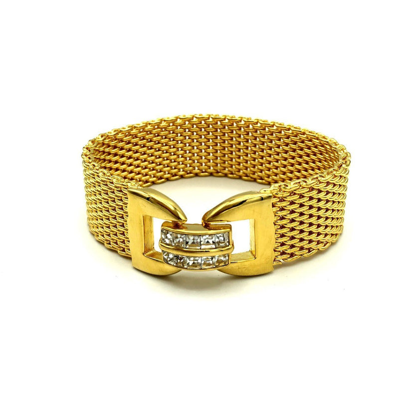 Kenneth Jay Lane Gold Wide Mesh Vintage Bracelet