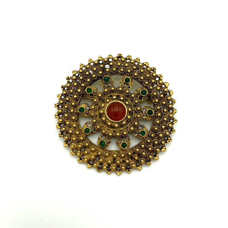 Large Round Brown Etrusan Revival Vintage Brooch
