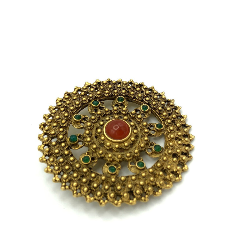 Large Round Brown Etrusan Revival Vintage Brooch-Brooches & Pins-24 Wishes