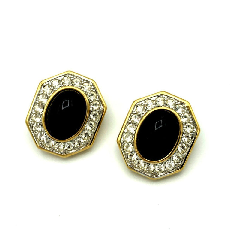 Nina Ricci Classic Gold Black Cabochon Vintage Earrings-Sustainable Fashion with Vintage Style-Trending Designer Fashion-24 Wishes
