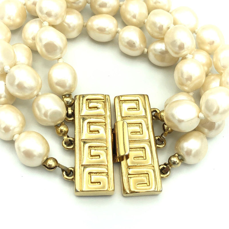Givenchy Layered Pearl Logo Vintage Bracelet-Bracelets-Givenchy-[trending designer jewelry]-[givenchy jewelry]-[Sustainable Fashion]