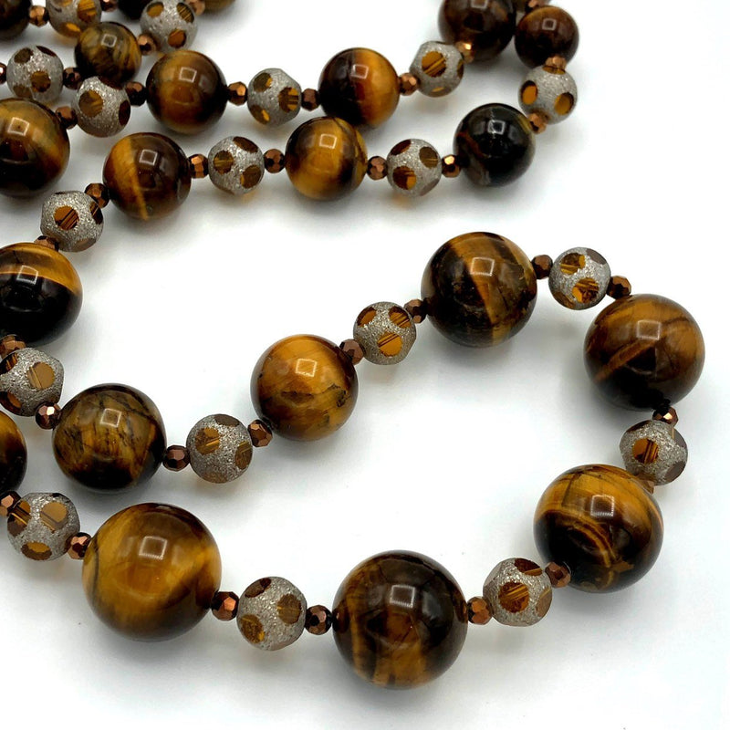 Joan Rivers Brown Tiger Eye Long Bead Vintage Necklace