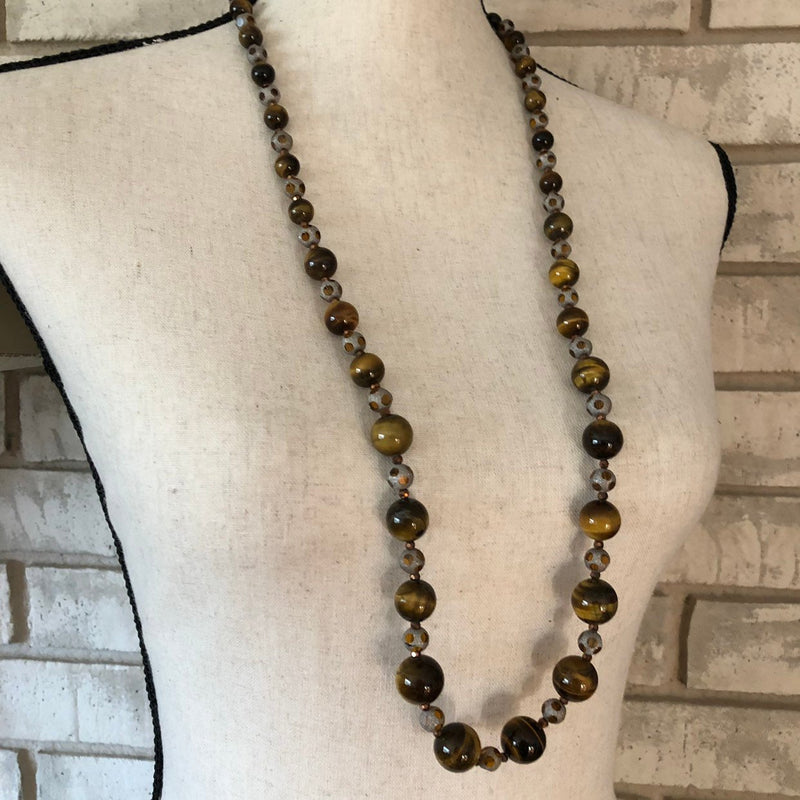update alt-text with template Joan Rivers Brown Tiger Eye Long Bead Vintage Necklace-Necklaces & Pendants-Joan Rivers-[trending designer jewelry]-[joan rivers jewelry]-[Sustainable Fashion]