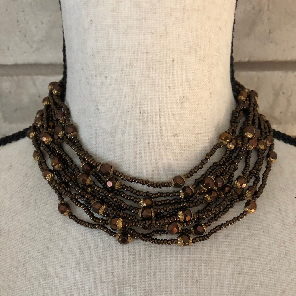 Vogue Brown Bronze Bead Jewelry Set