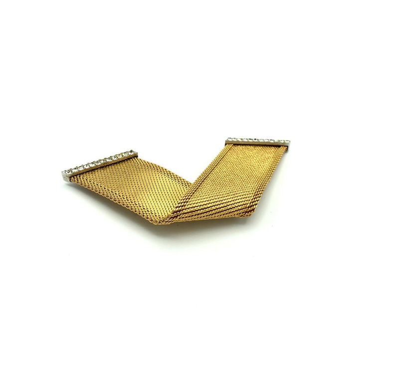Gold Christian Dior Mesh Ribbon Classic Vintage Brooch-Sustainable Fashion with Vintage Style-Trending Designer Fashion-24 Wishes