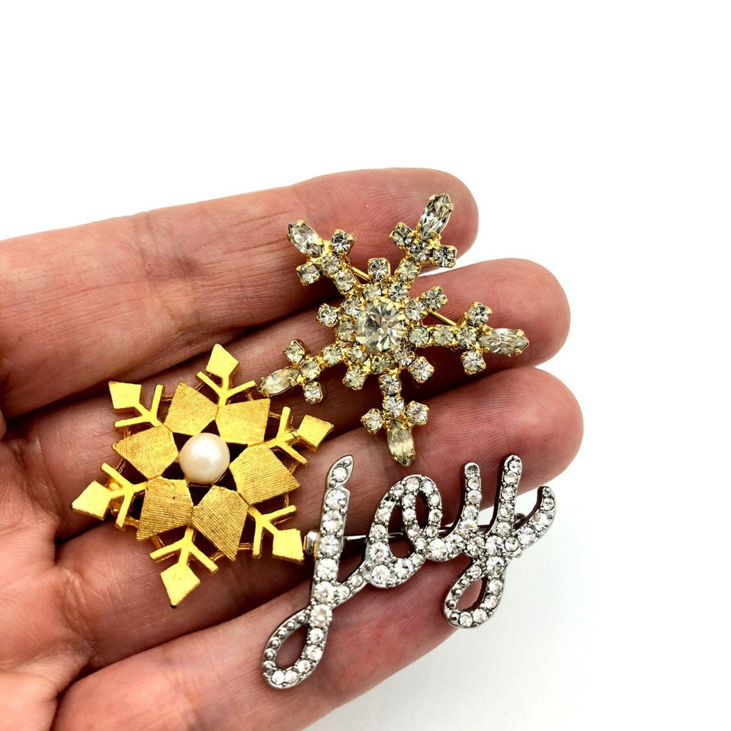 Vintage Holiday Brooch Trio Pearl Rhinestone Snowflakes Joy Christmas Scatter Pins
