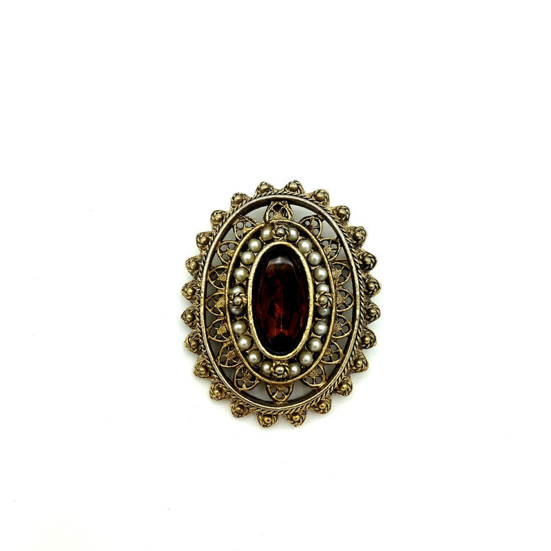 Gold Pauline Rader Victorian Revival Brown Glass Brooch Pendant