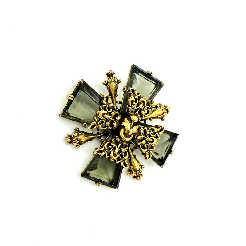 Gold Accessocraft Maltese Cross Glass Smoky Quartz Brooch-Sustainable Fashion with Vintage Style-Trending Designer Fashion-24 Wishes