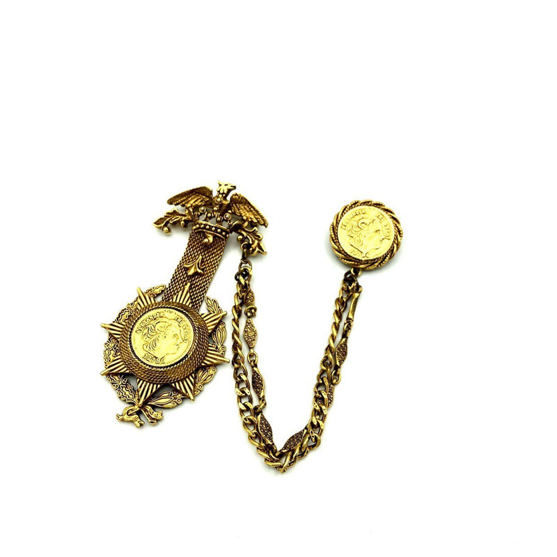 Gold Florenza Roman Coins Chatelaine Vintage Brooch