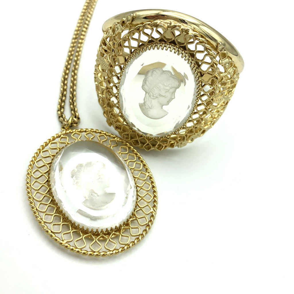Vintage Whiting & Davis Intaglio Cameo Jewelry Set