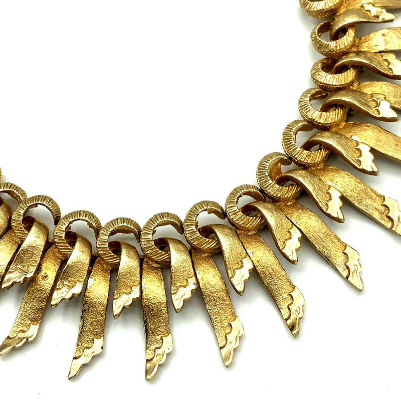 Francois Gold Ribbon Textured Small Bib Necklace
