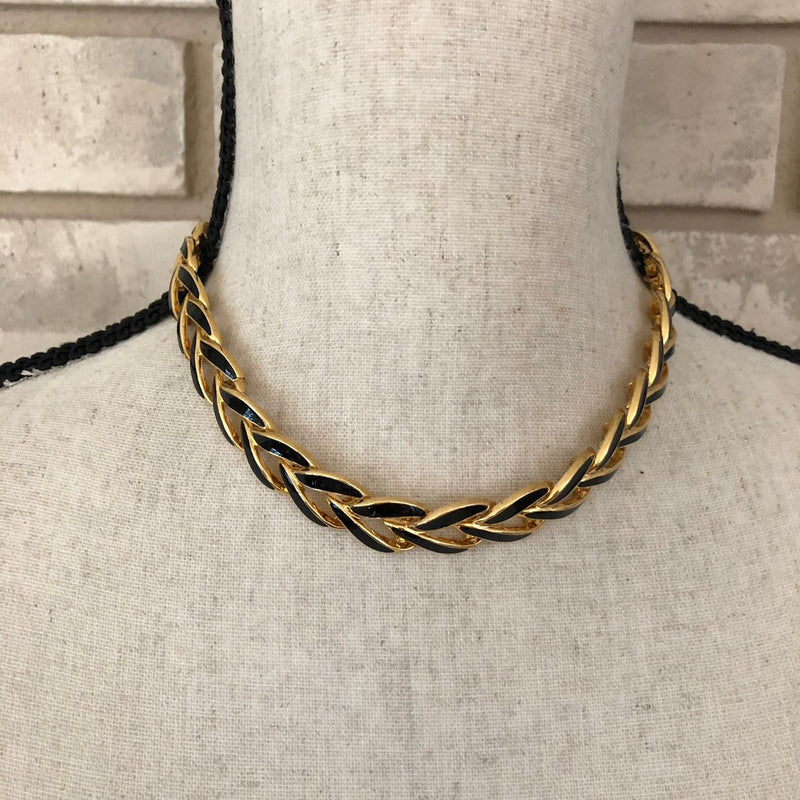 Vintage Napier Classic Gold & Black Enamel Link Necklace-Sustainable Fashion with Vintage Style-Trending Designer Fashion-24 Wishes