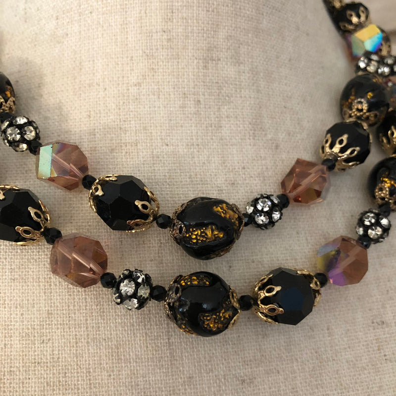 Vintage Vendome Black Crystal Bead Layered Necklace-Sustainable Fashion with Vintage Style-Trending Designer Fashion-24 Wishes