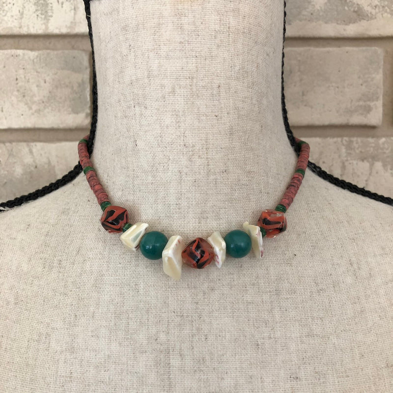 Kenneth Jay Lane Puka Shell Boho Vintage Necklace