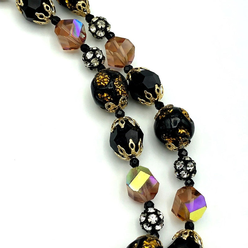 Vintage Vendome Black Crystal Bead Layered Necklace