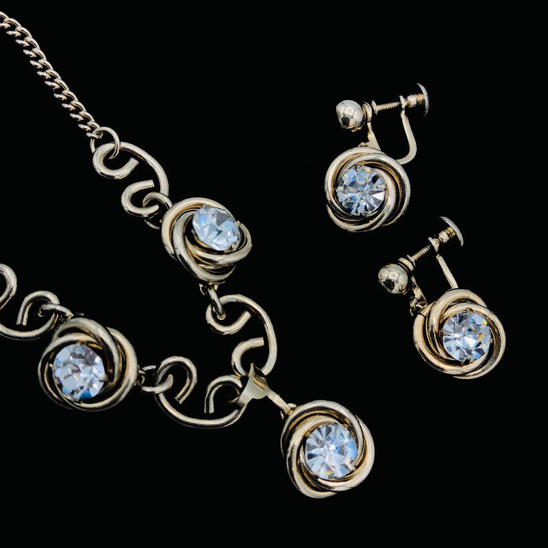Coro Gold Clear Rhinestone Jewelry Set