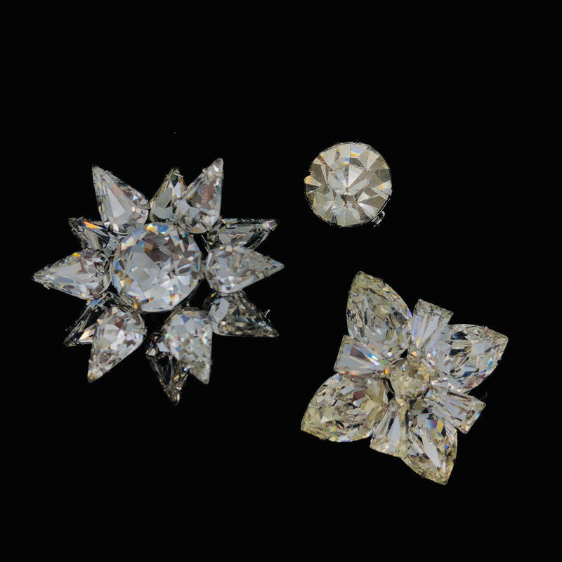 Vintage Clear Rhinestone Trio Petite Brooch Set-Sustainable Fashion with Vintage Style-Trending Designer Fashion-24 Wishes