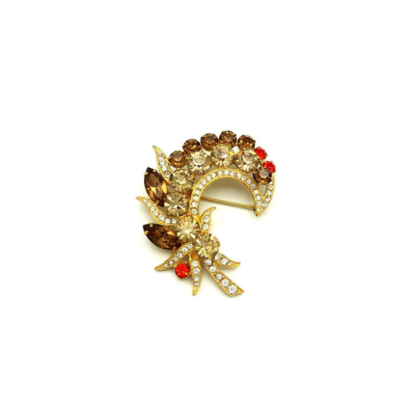 Eisenberg Ice Vintage Brown Flower Spray Brooch-Sustainable Fashion with Vintage Style-Trending Designer Fashion-24 Wishes