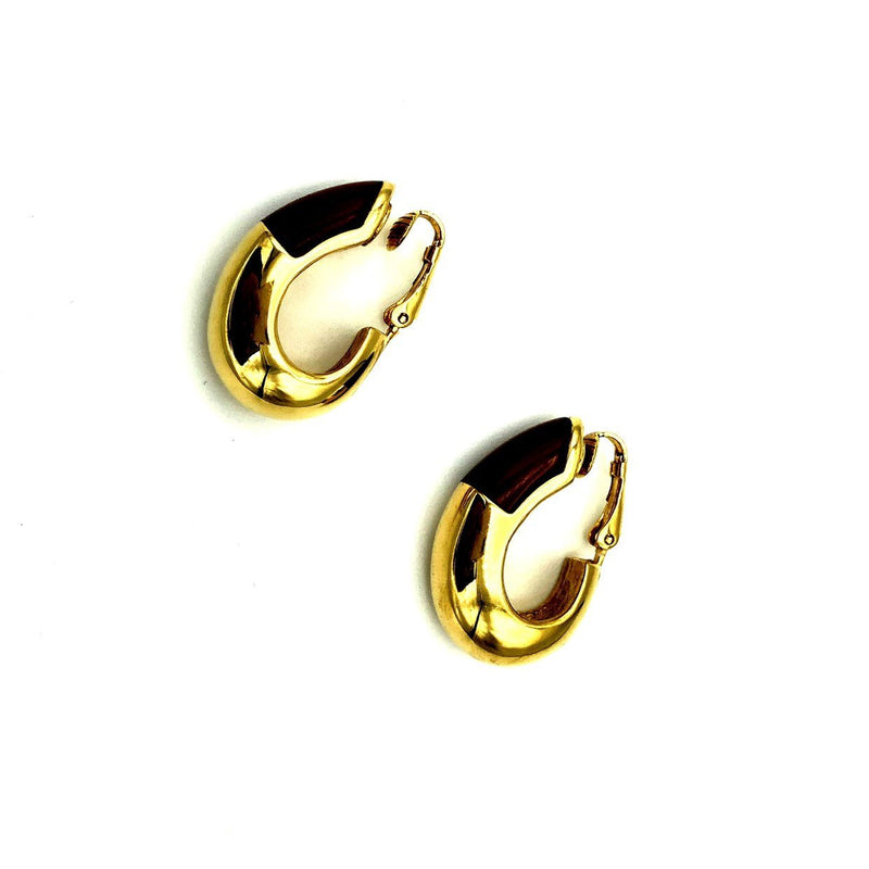Givenchy Half Hoop Brown Lucite Vintage Clip-On Earrings-Earrings-24 Wishes