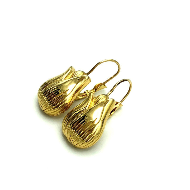 Givenchy Gold Tulip Vintage Dangle Drop Earrings-Earrings-Givenchy-[trending designer jewelry]-[givenchy jewelry]-[Sustainable Fashion]