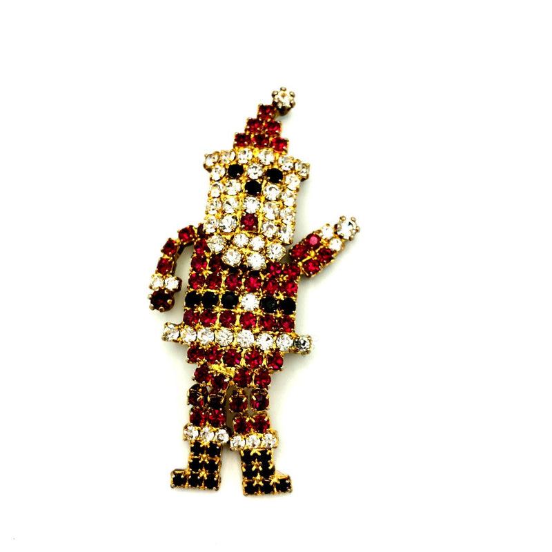 Vintage Eisenberg Ice Rhinestone Santa Claus Brooch-Sustainable Fashion with Vintage Style-Trending Designer Fashion-24 Wishes