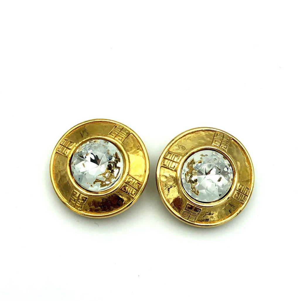 Vintage Givenchy Large Gold Logo Rhinestone Earrings