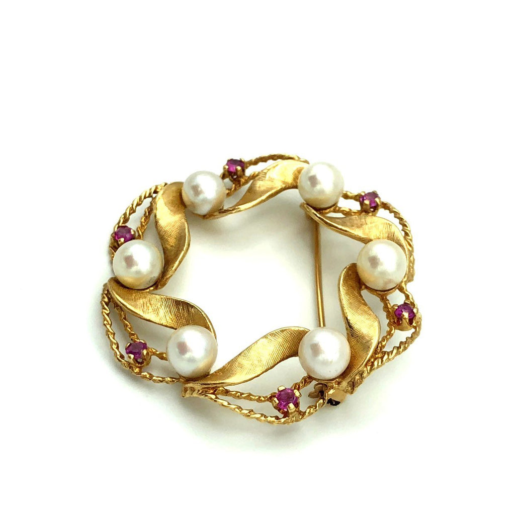 14K Gold Culture Pearls Red Ruby Brooch