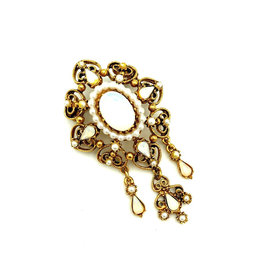 Florenza White Opal Victorian Revival Vintage Brooch-Sustainable Fashion with Vintage Style-Trending Designer Fashion-24 Wishes