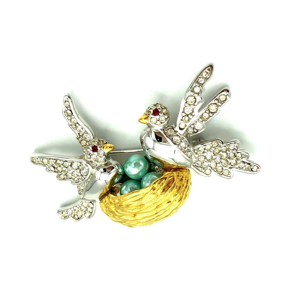 update alt-text with template Joan Rivers Silver & Gold Figural Bird Vintage Brooch-Brooches & Pins-Joan Rivers-[trending designer jewelry]-[joan rivers jewelry]-[Sustainable Fashion]