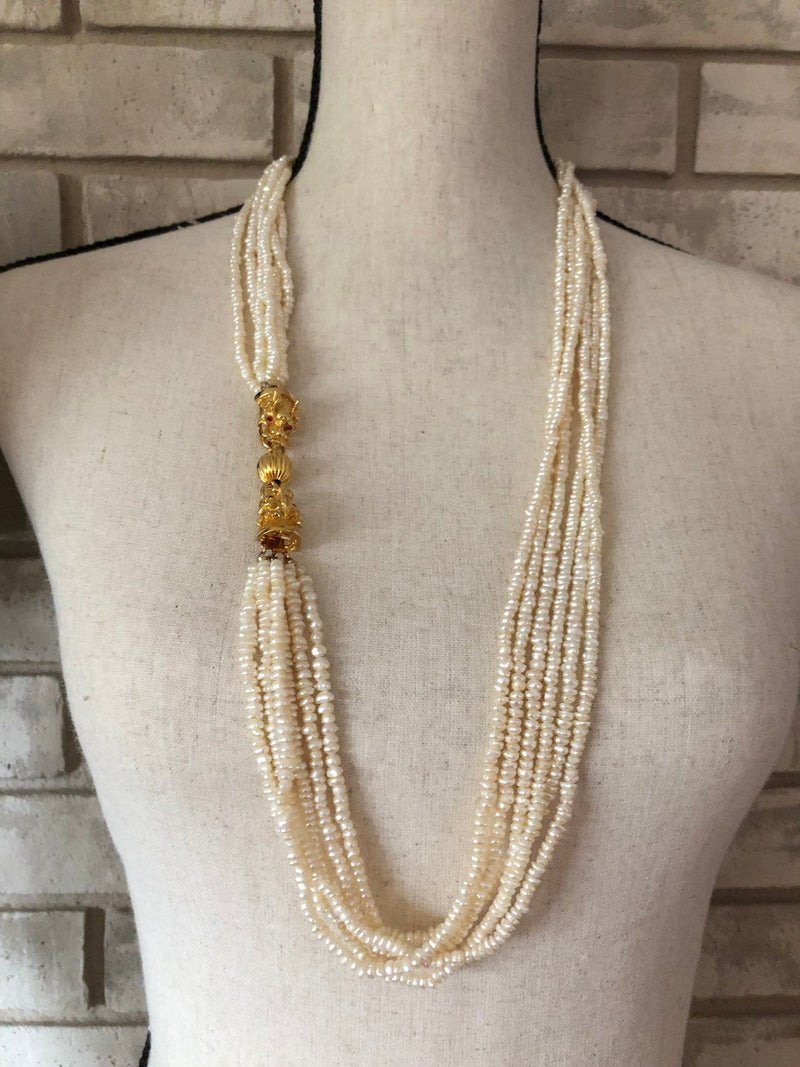 Vintage Classic Multi-Strand Pearl Necklace Dragon Clasp-Sustainable Fashion with Vintage Style-Trending Designer Fashion-24 Wishes