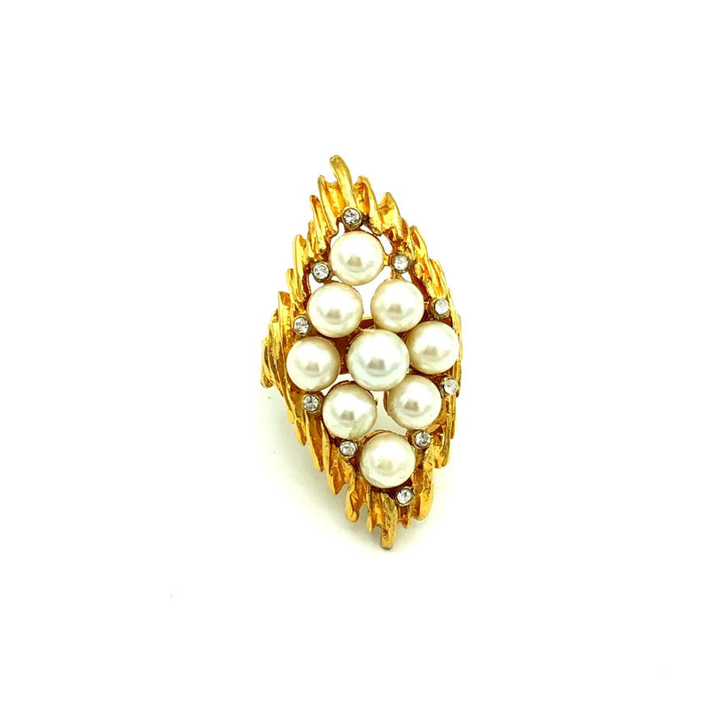 Large Gold Rhinestone & Pearl Vintage Cocktail Ring-Sustainable Fashion with Vintage Style-Trending Designer Fashion-24 Wishes