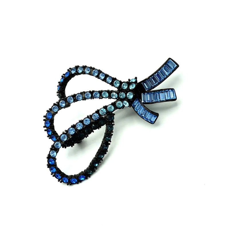 Classic Nolan Miller Bow Sapphire Blue Vintage Brooch-Sustainable Fashion with Vintage Style-Trending Designer Fashion-24 Wishes