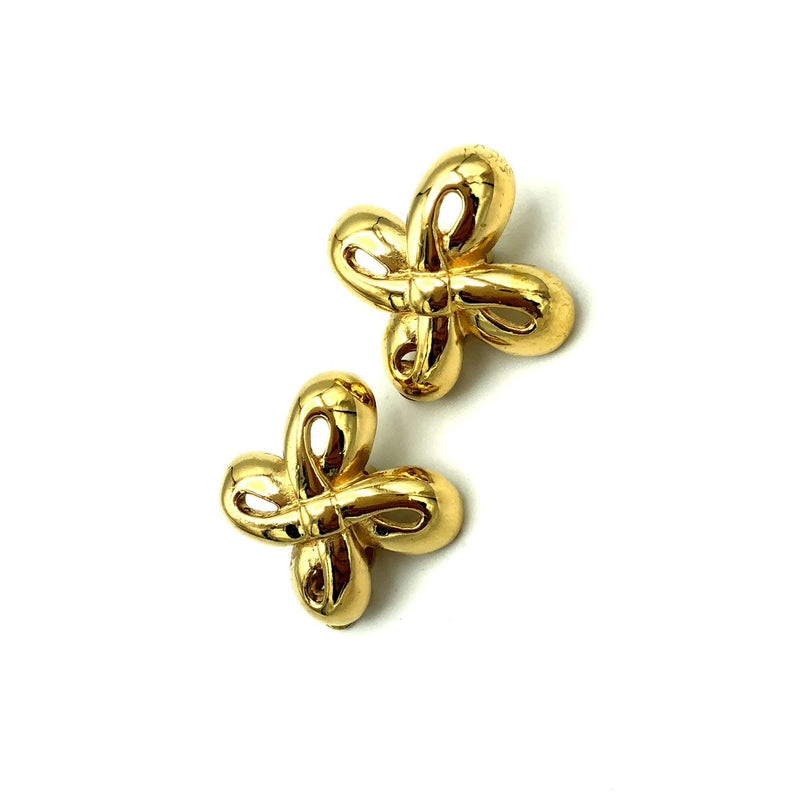 Givenchy Gold Double Knot Vintage Clip-On Earrings-Earrings-Givenchy-[trending designer jewelry]-[givenchy jewelry]-[Sustainable Fashion]