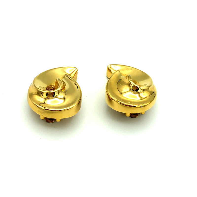 update alt-text with template Christian Dior Classic Gold Swirl Vintage Clip-On Earrings-Earrings-Christian Dior-[trending designer jewelry]-[christian dior jewelry]-[Sustainable Fashion]