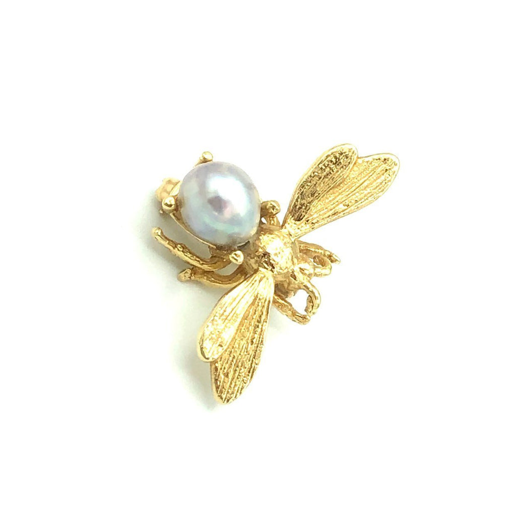 Vintage 14K Gold Gray Baroque Pearl Bee Brooch